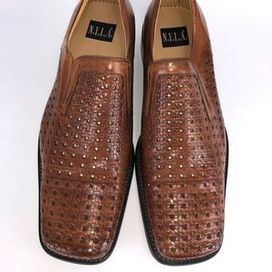 New Tan NYLA Perforated Leather Square Tip Shoe
